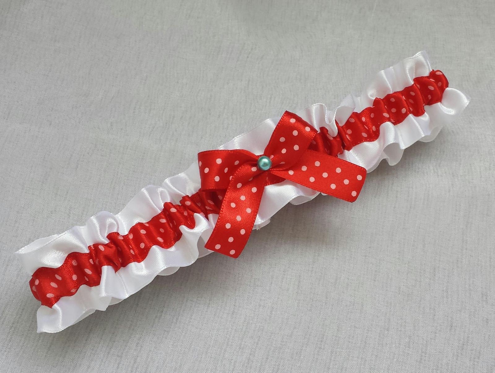 Puntíkatý podvazek - ivory/červená - Obrázek č. 3