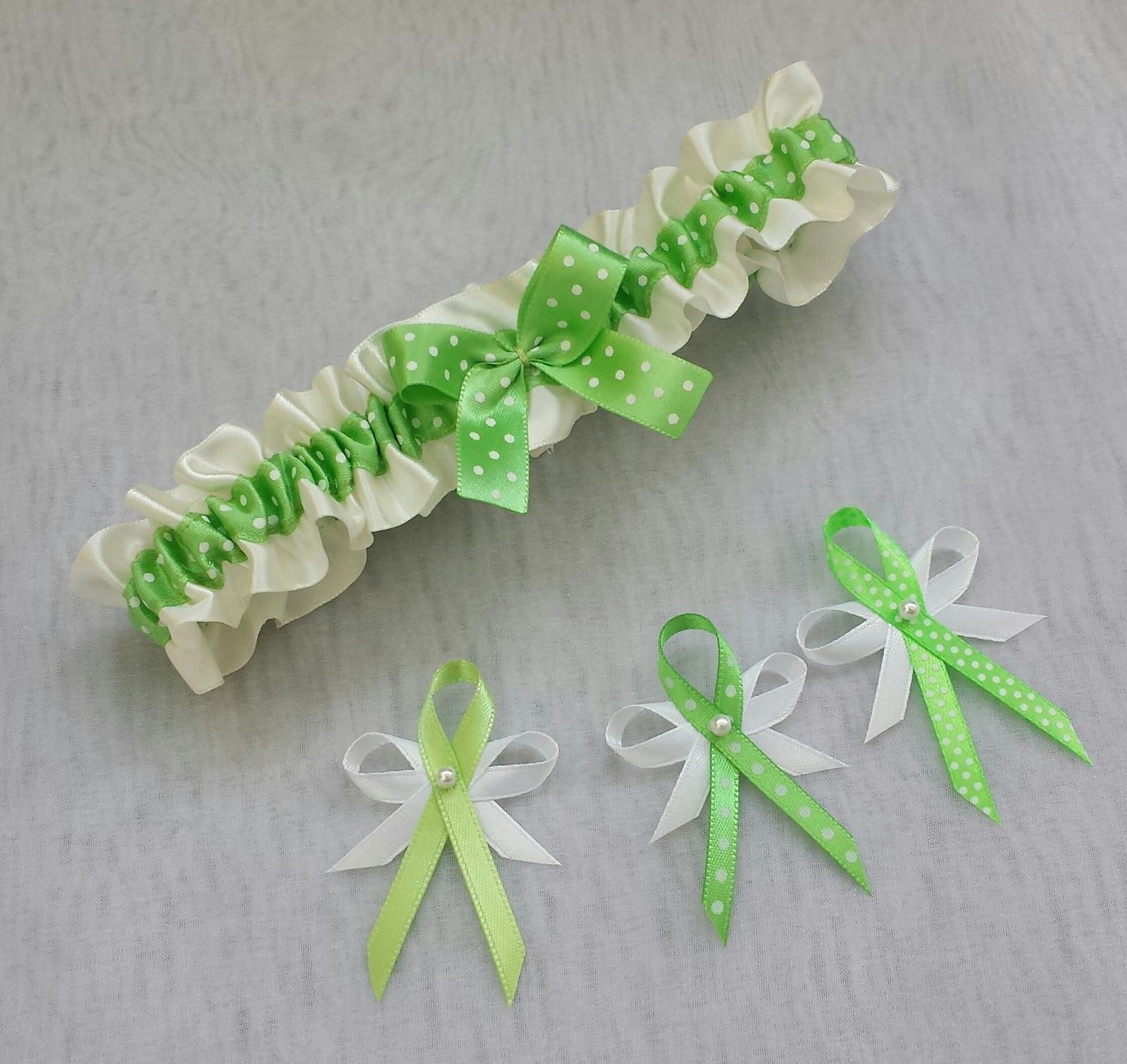 Puntíkatý podvazek - ivory/zelená - Obrázek č. 1