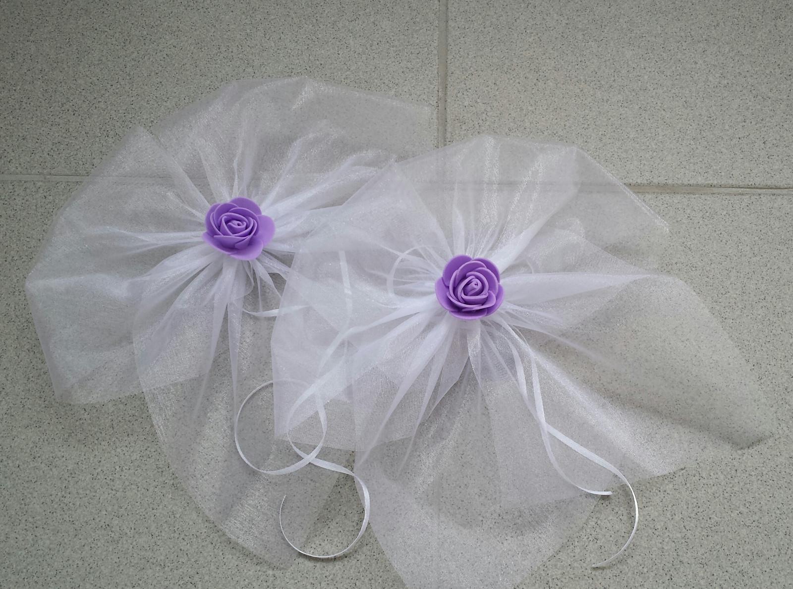 BÍLÁ mašle na zrcátka/kliky fialová květinka - Obrázek č. 1