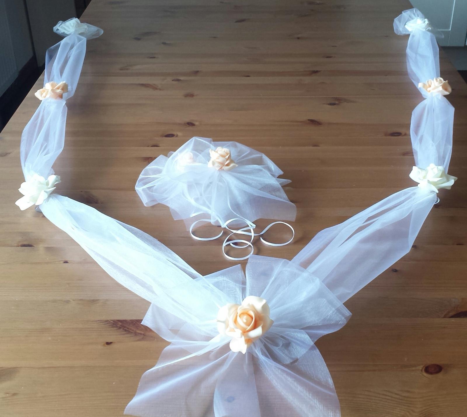 Cylindr na svatební auto - lososová+bílá+ ivory - Obrázek č. 2