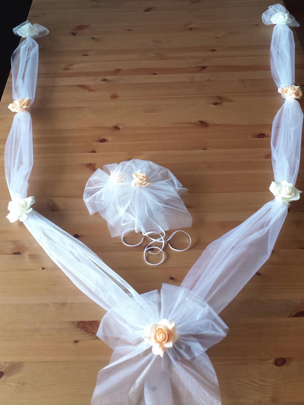 Cylindr na svatební auto - lososová+bílá+ ivory - Obrázek č. 3