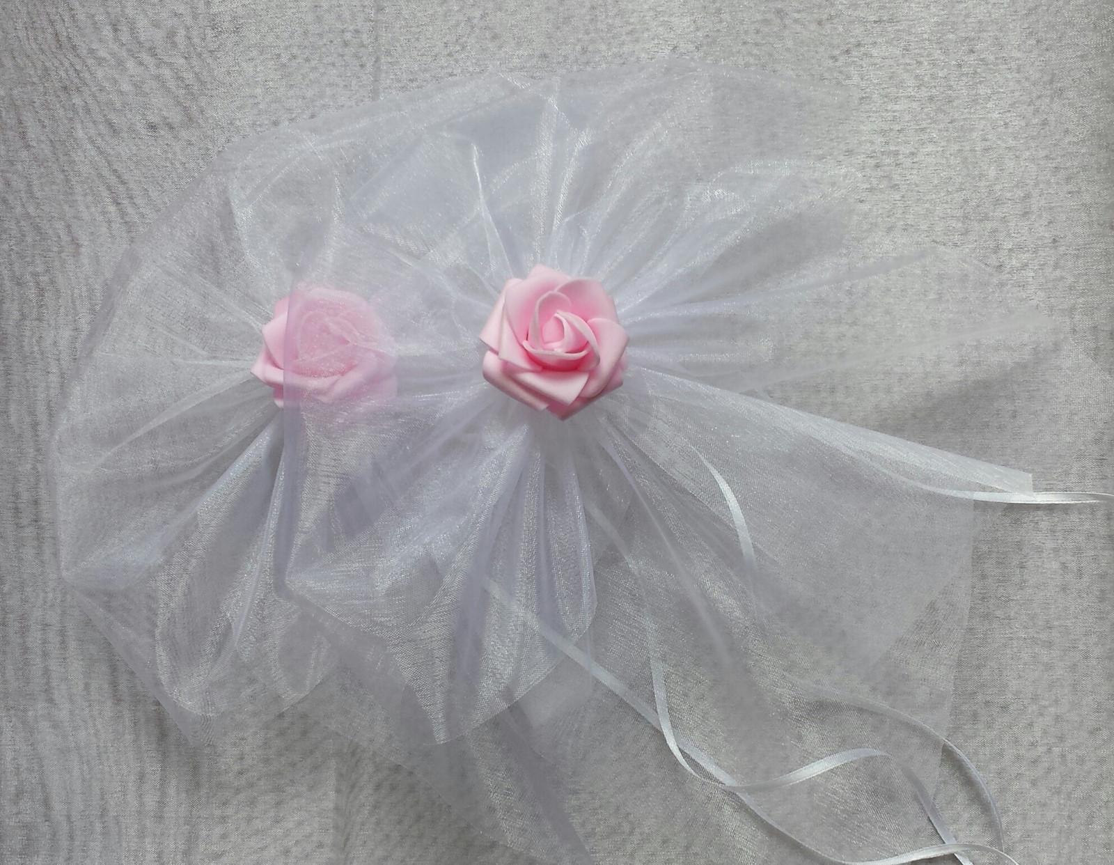 BÍLÁ mašle na zrcátka/kliky růžová květinka L - Obrázek č. 1
