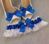 Klipy na boty pro nevěstu s královskou mašličkou,