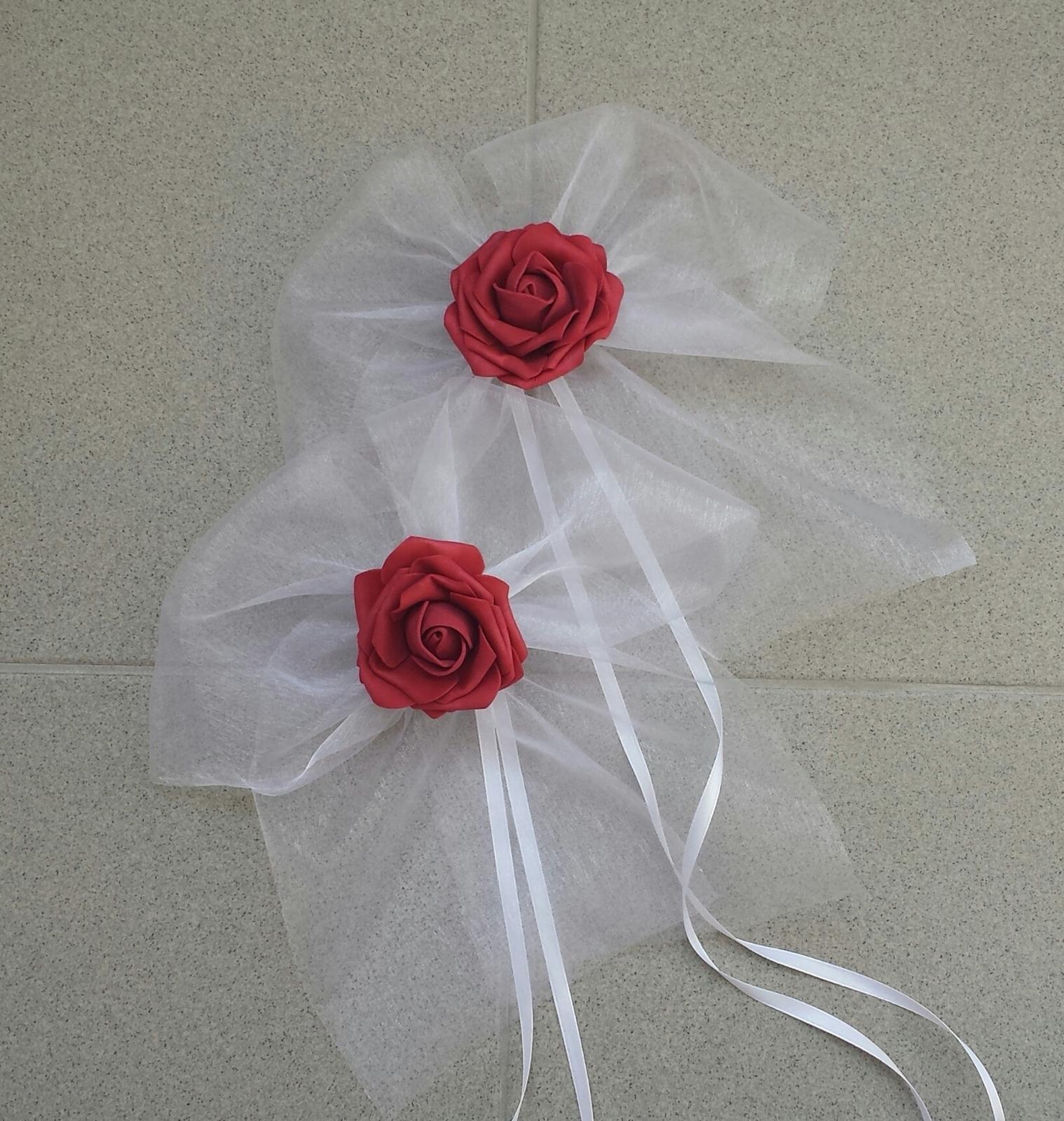 BÍLÁ mašle na zrcátka/kliky bordo květinka XL - Obrázek č. 1