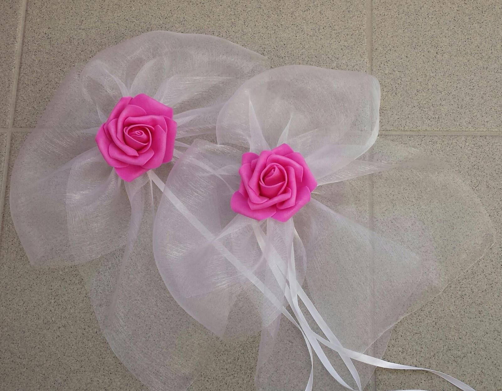 BÍLÁ mašle na zrcátka/kliky fuchsiová květinka XL - Obrázek č. 1