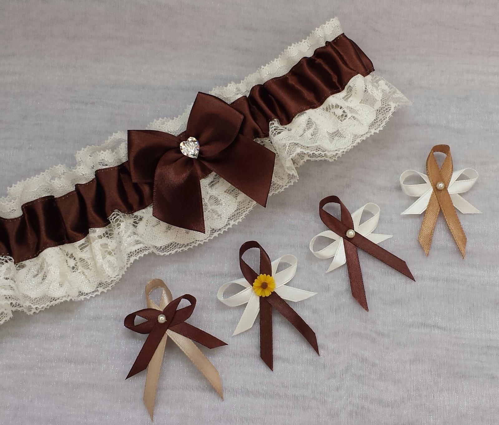Krajkový ivory/čokoládový SW podvazek - Obrázek č. 1