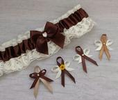 Krajkový ivory/čokoládový SW podvazek, 40