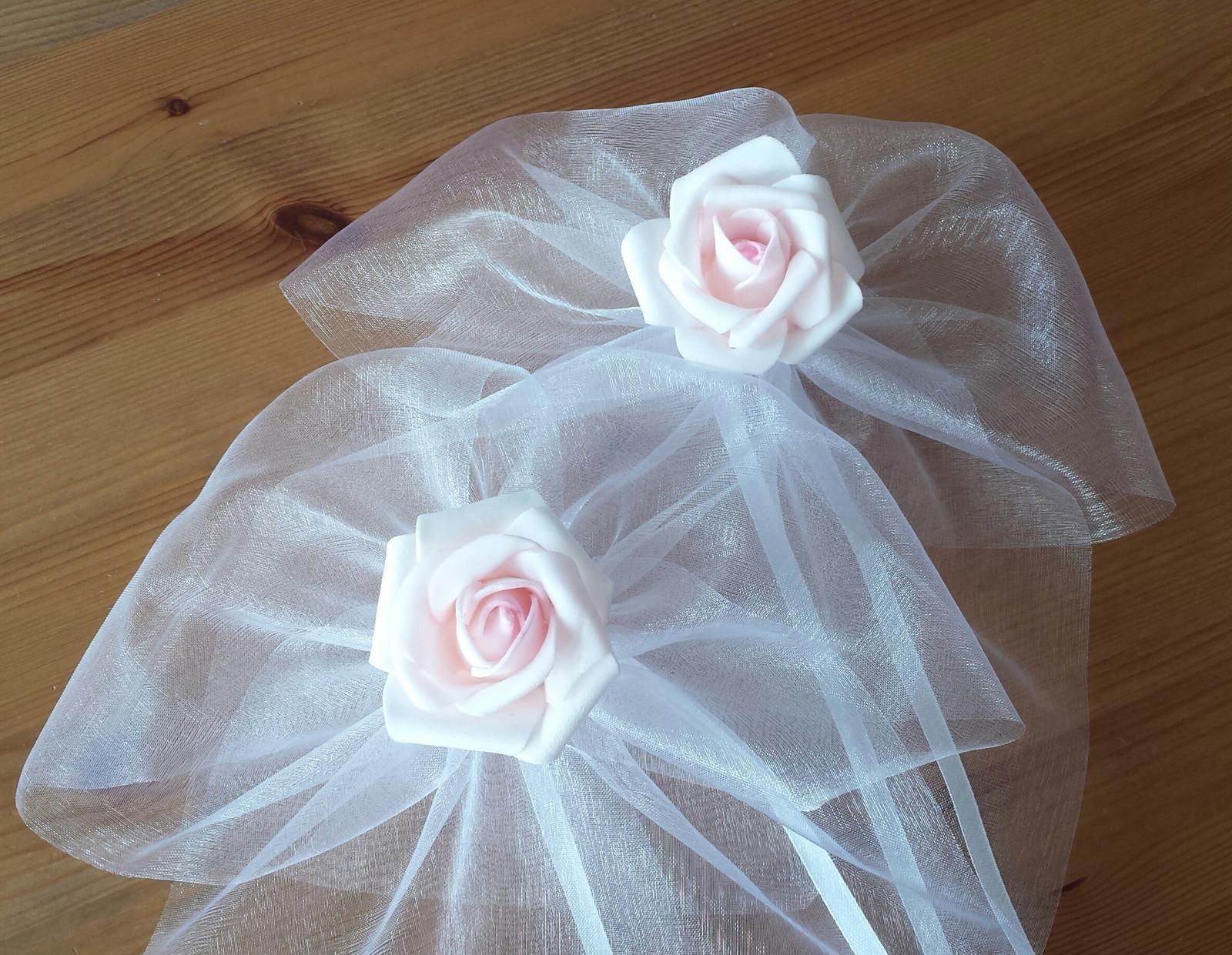 Cylindr na svatební auto - růžová/bílá - Obrázek č. 4