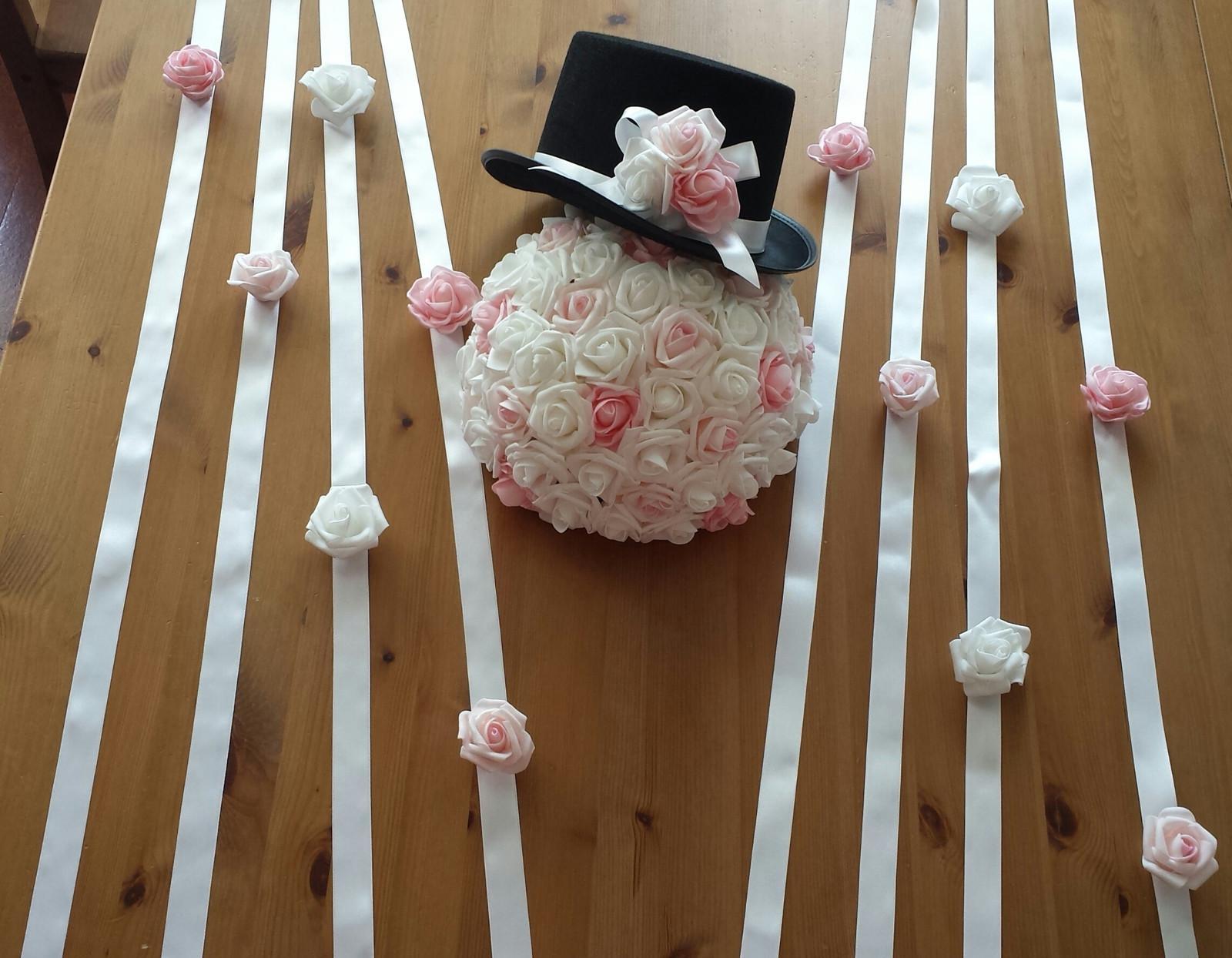 Cylindr na svatební auto - růžová/bílá - Obrázek č. 3