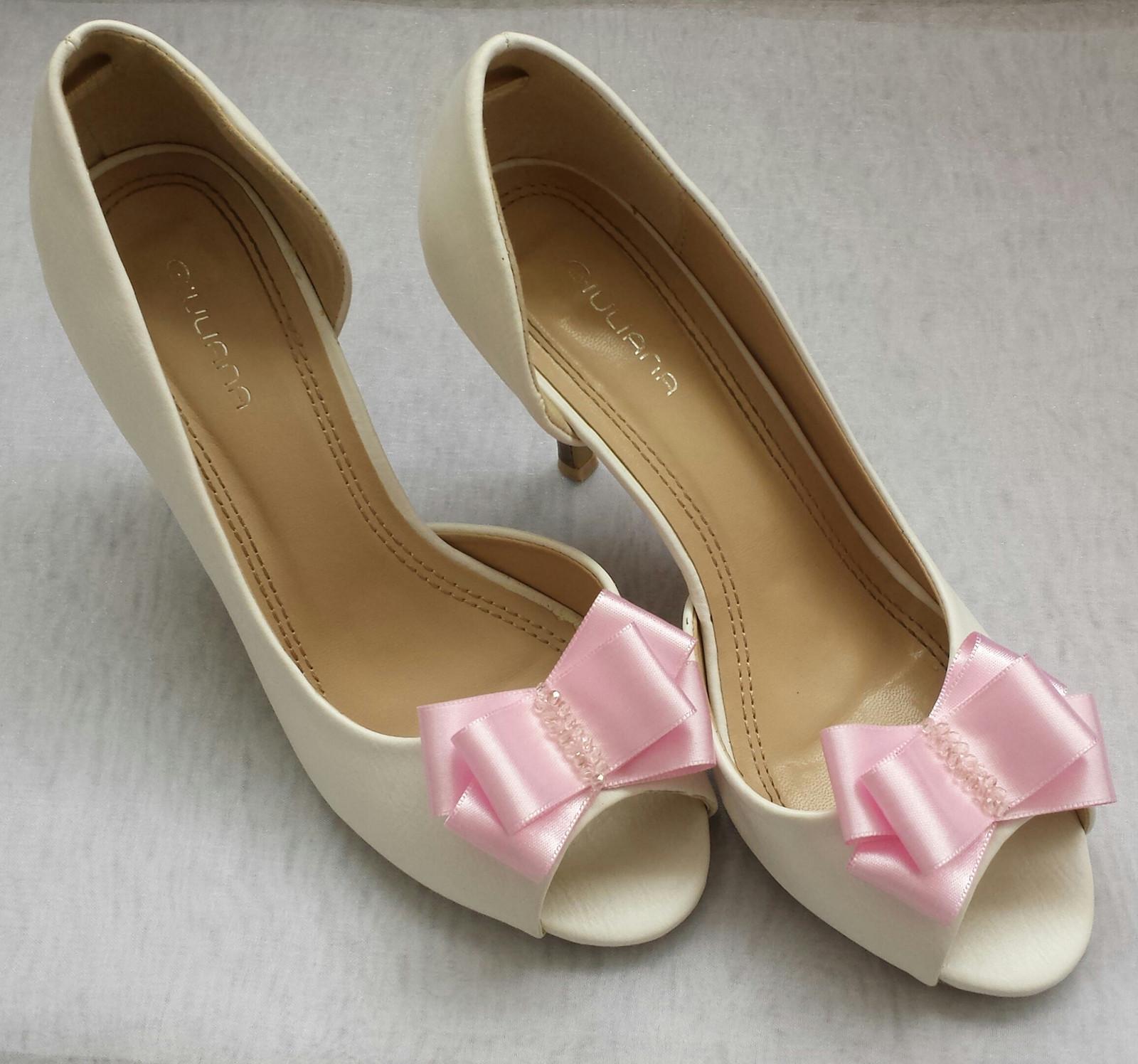 Klipy na boty pro nevěstu s RŮŽOVOU mašličkou - Obrázek č. 1