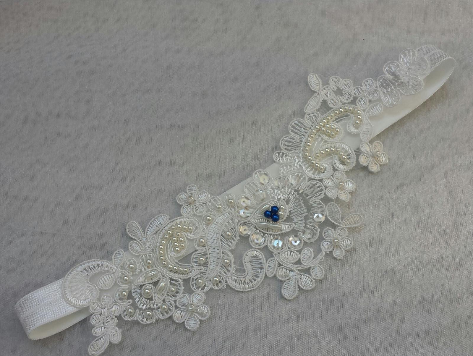 Krajkový luxusní ivory podvazek královská - Obrázek č. 1
