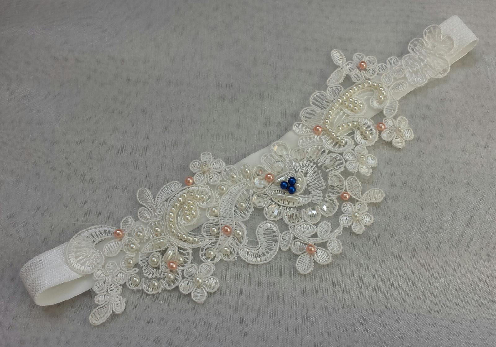 Krajkový luxusní ivory podvazek - meruňková - Obrázek č. 1