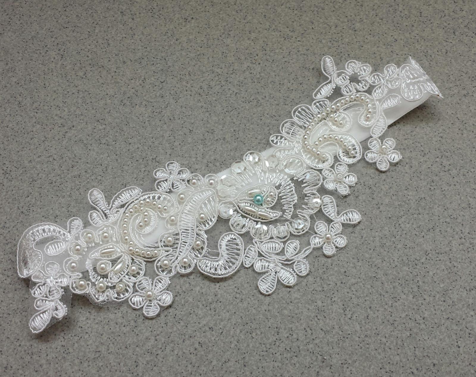 Krajkový luxusní ivory podvazek - Obrázek č. 1