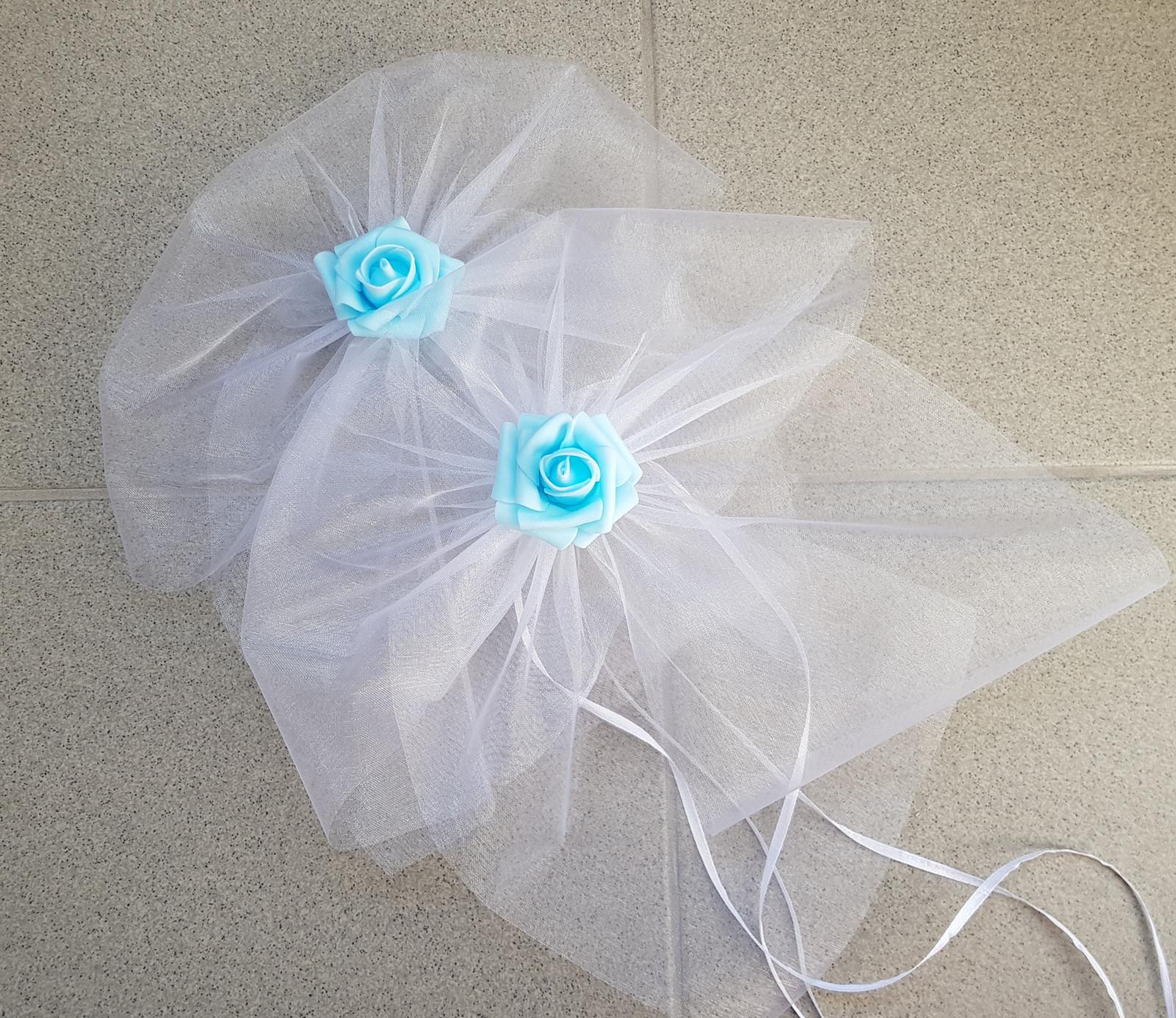 Bílá mašle na zrcátka/kliky modrá květinka L - Obrázek č. 1