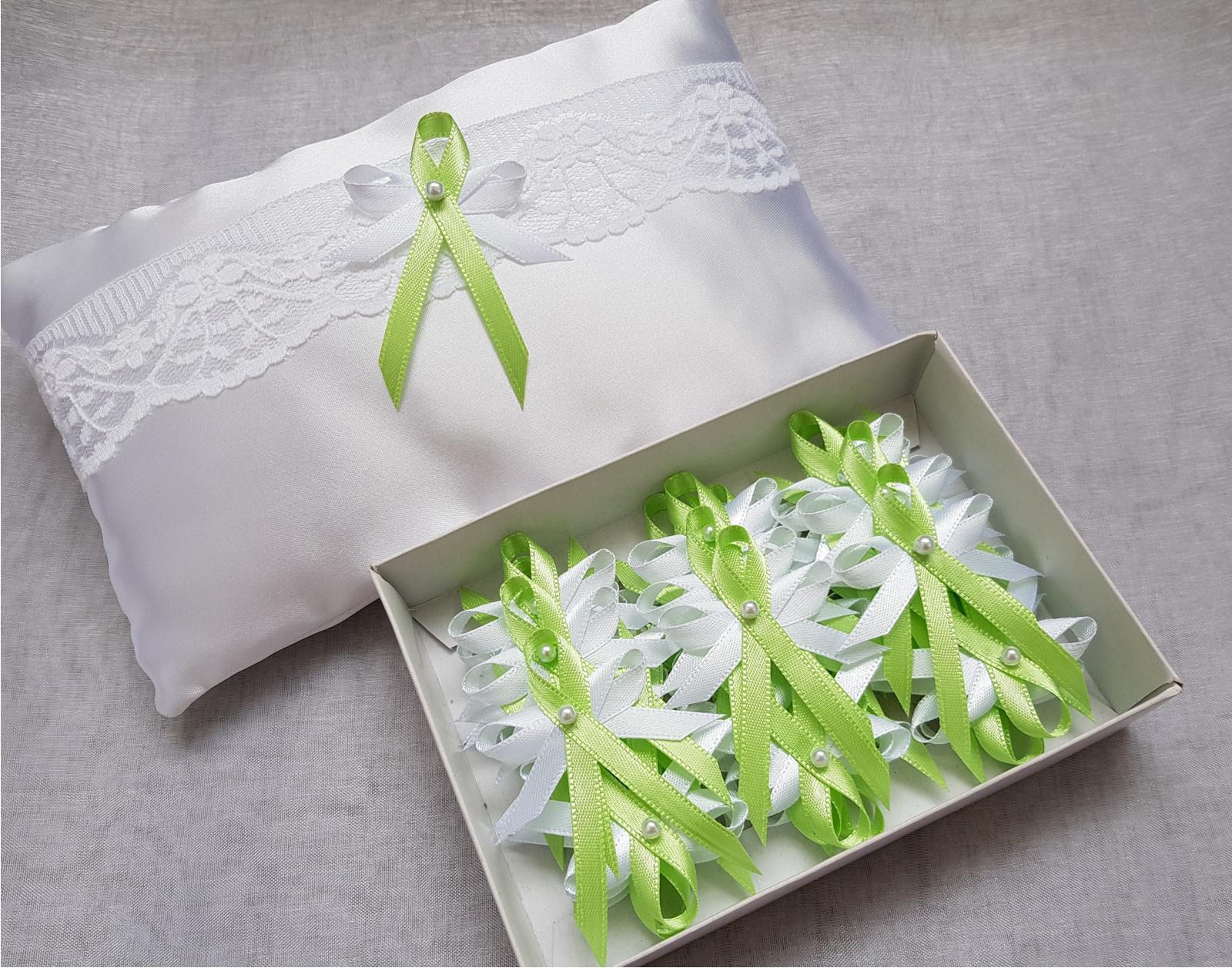 Svatební vývazky jarní zelená a bílá - Obrázek č. 1