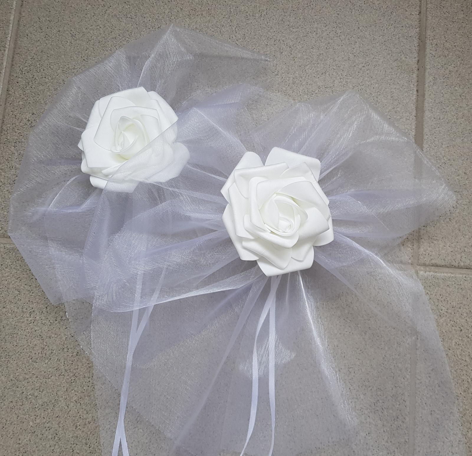 BÍLÁ mašle na zrcátka/kliky bílá květinka XXL - Obrázek č. 1