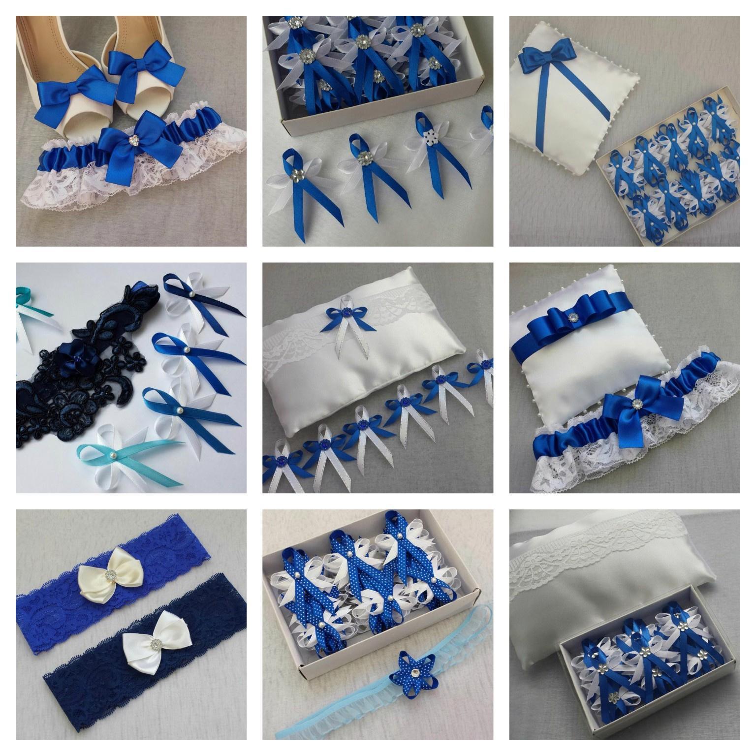 Bílý polštářek pod prstýnky s modrou mašlí - Obrázek č. 3