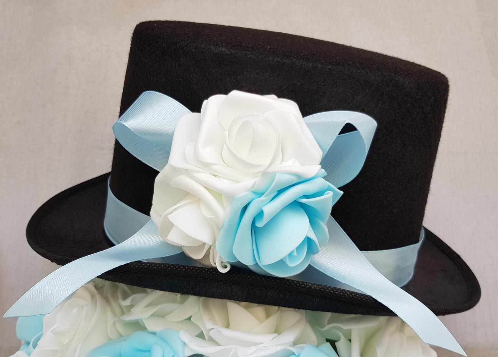 Cylindr na svatební auto - modrá/bílá - Obrázek č. 1