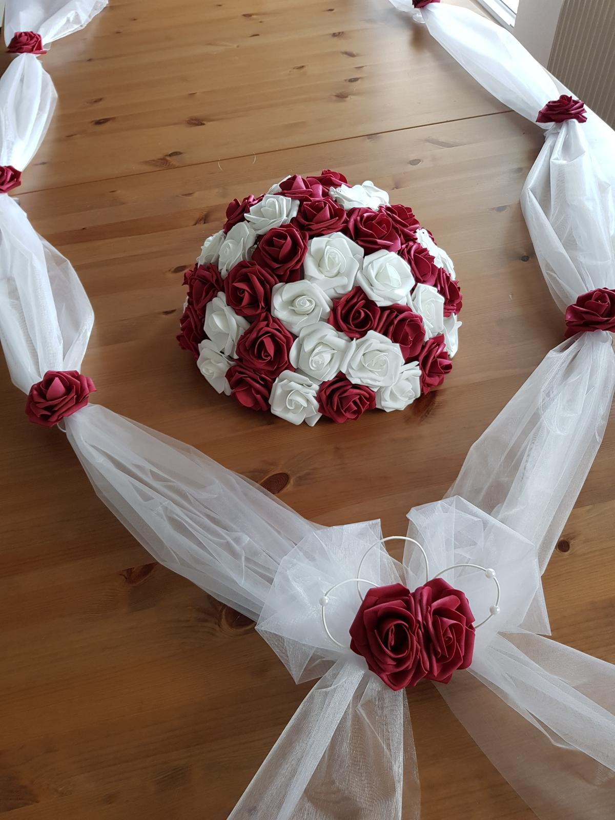 Cylindr na svatební auto - bílá/bordó - Obrázek č. 4