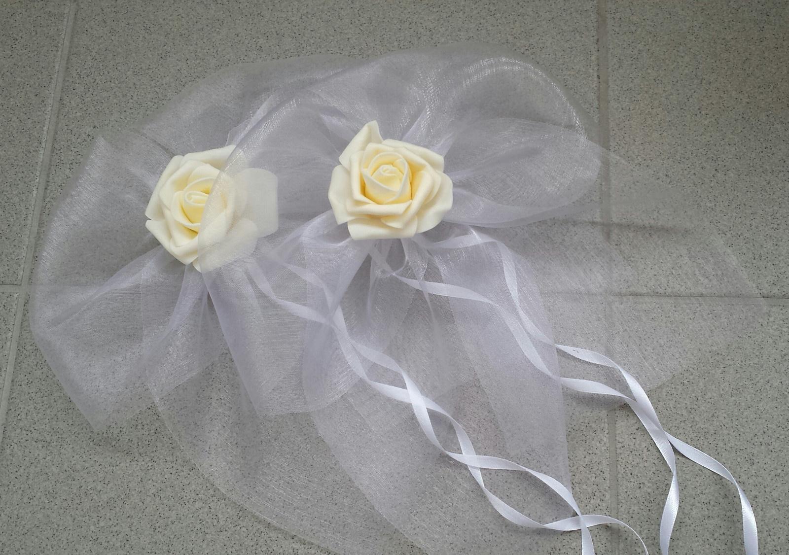 Cylindr na svatební auto - bílá/zlatá/champagne - Obrázek č. 3