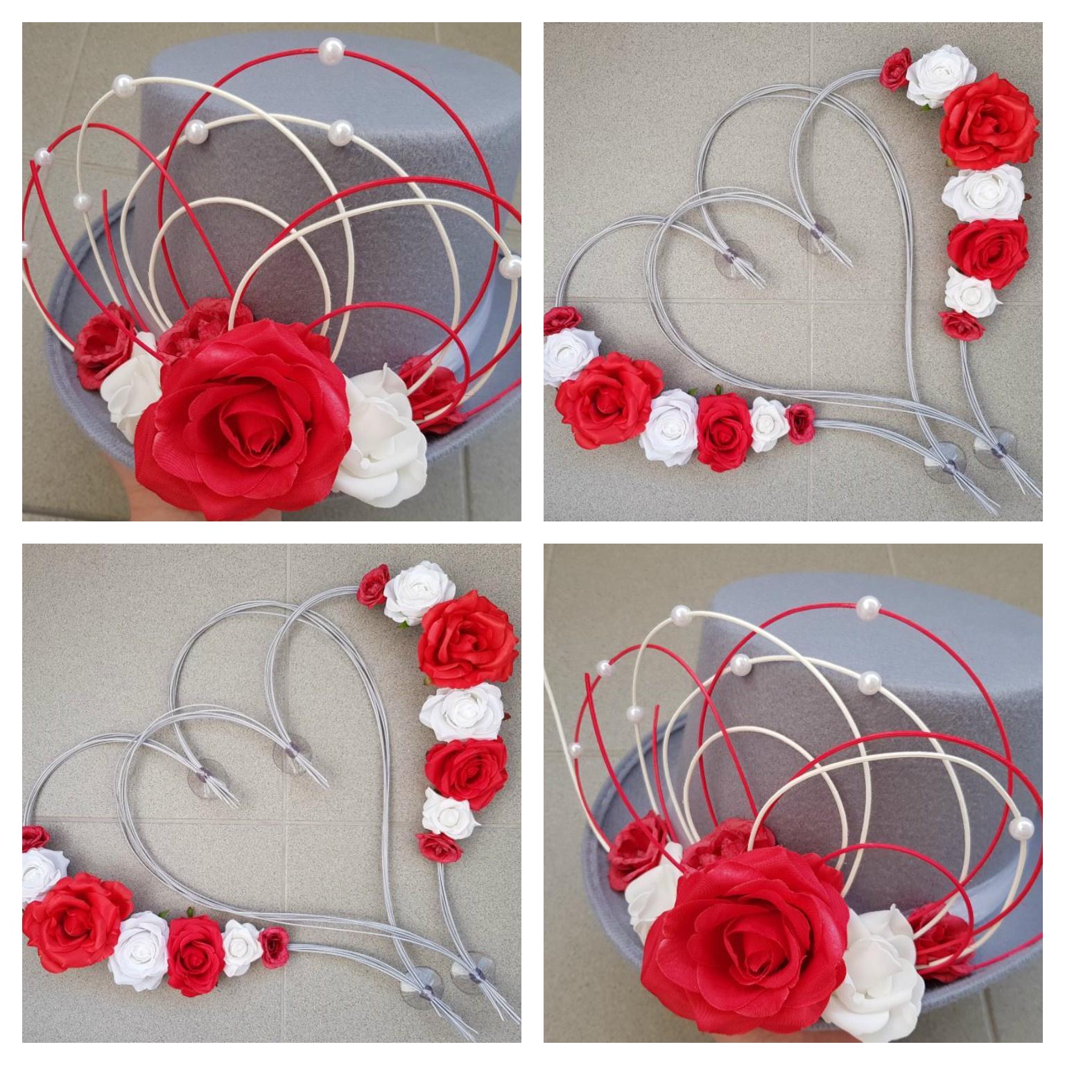 Srdce na kapotu bílá a červená - Obrázek č. 3