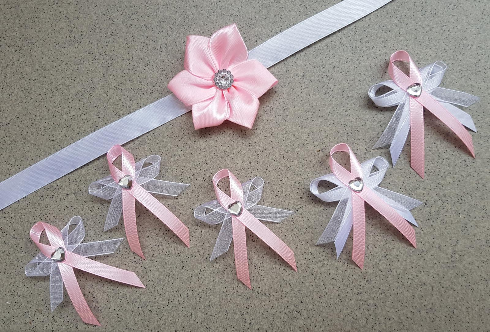 Střední svatební vývazky - bílá/růžová - Obrázek č. 1