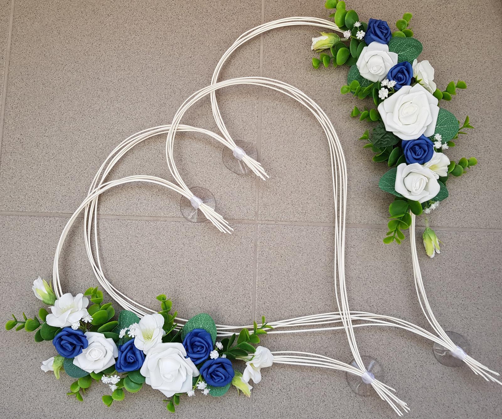 Srdce na kapotu bílá a námořnicky modrá - Obrázek č. 1