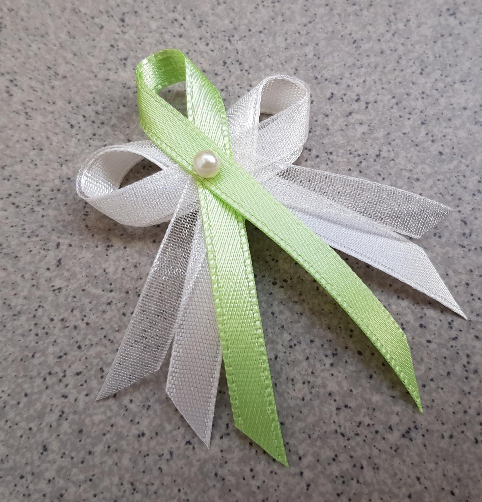 Střední svatební vývazky - ivory/zelená - Obrázek č. 1