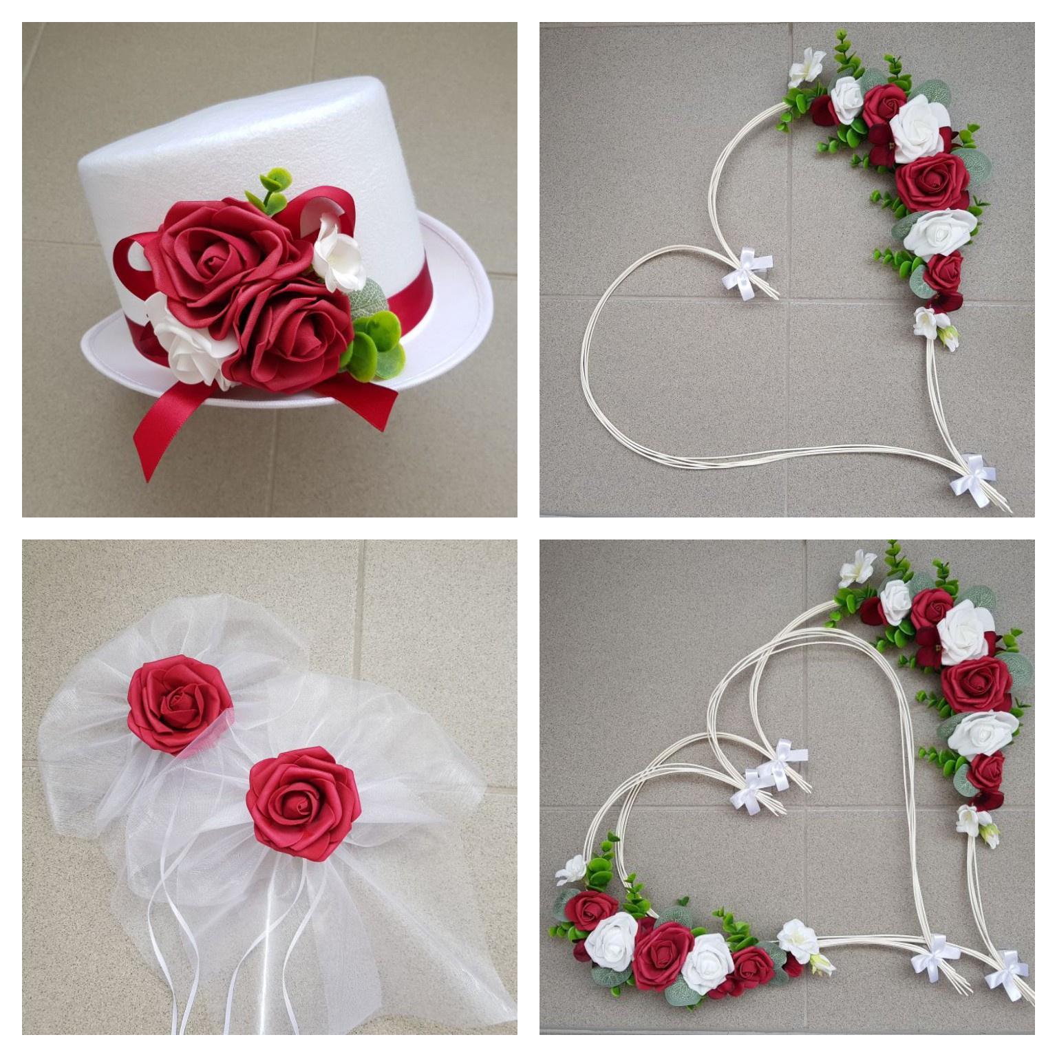 Srdce na kapotu bílá, vínová a růžová - Obrázek č. 4