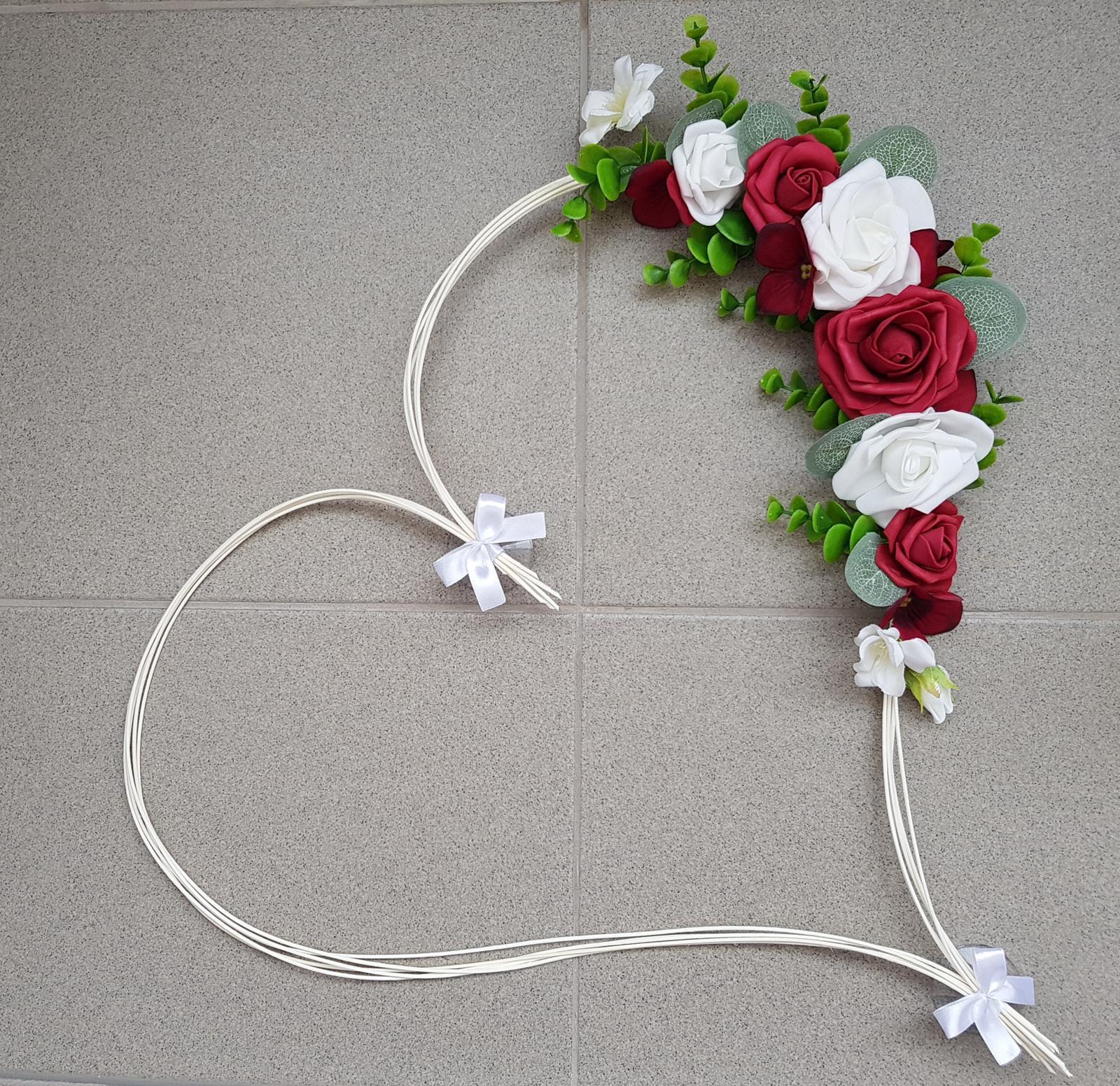 Srdce na kapotu bílá a vínová - Obrázek č. 1