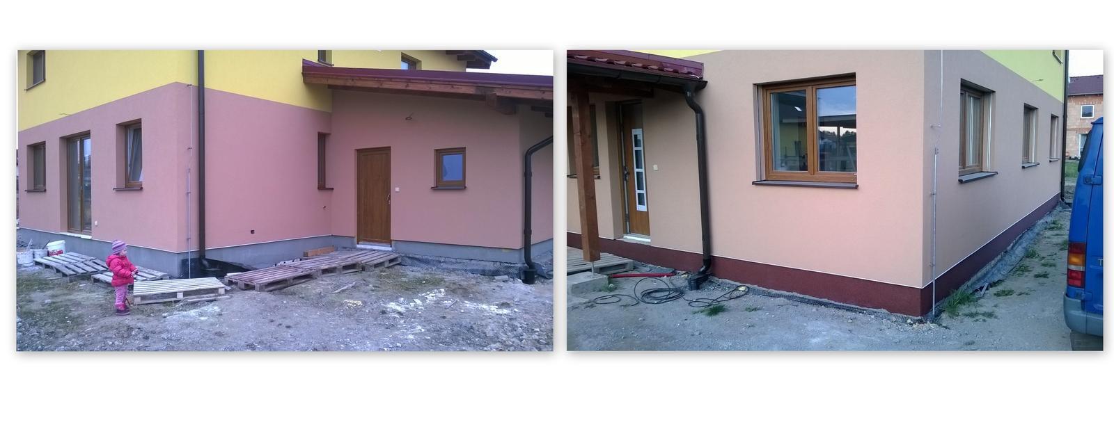 Stavba pasivního domu - Marmolitový sokl. Měl by být stejně nezničitelný a trvanlivý jako probarvená omítka.