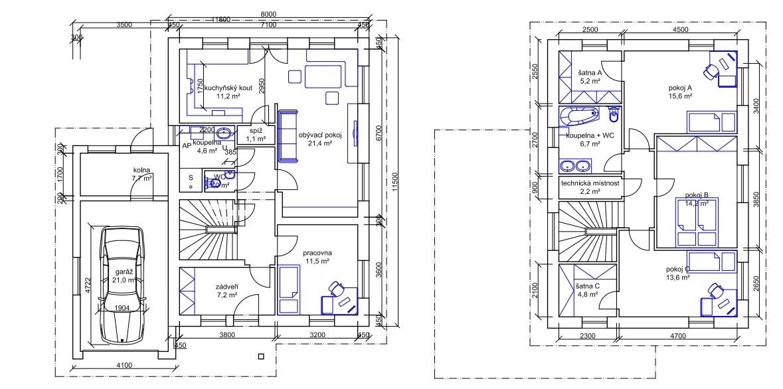 Stavba pasivního domu - Náš projekt, vymýšleli jsme ho s manželem přes půl roku. Ale jsme s ním ve finále spokojení.