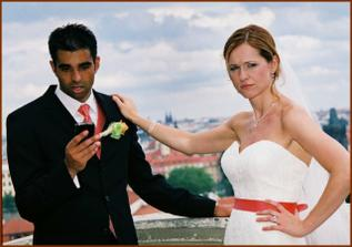 Co zase dela na tom telefonu?? !! :)  /   Checking Blackberry? On our wedding day??!!! Aleem is notorious BBerry user :)