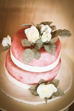 Svatební dort-vlastní výroba, bohužel se stala nehoda a zachránili jsme jen dvě malá patra takže si každý jen líznul :)
