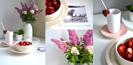 růžový snídanový servis z levných knih....taliřky oba 19 Kč a miska 29 Kč, jsou tam někdy opravu poklady