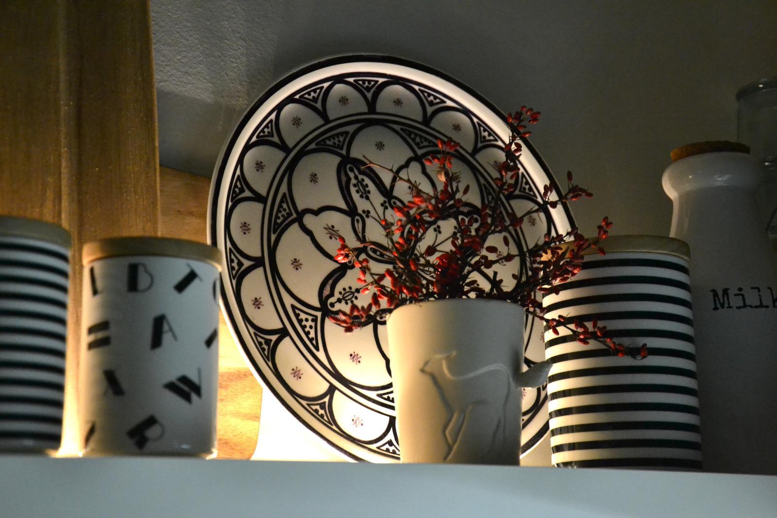 U nás doma v paneláku II. - červené bobule, jsou hezká dekorace, mám je te´d jako doplněk k černé a bílé....