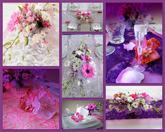 Nová kolekce látek na Váš svatební stůl - barva fialová, starorůžová, stříbrná
