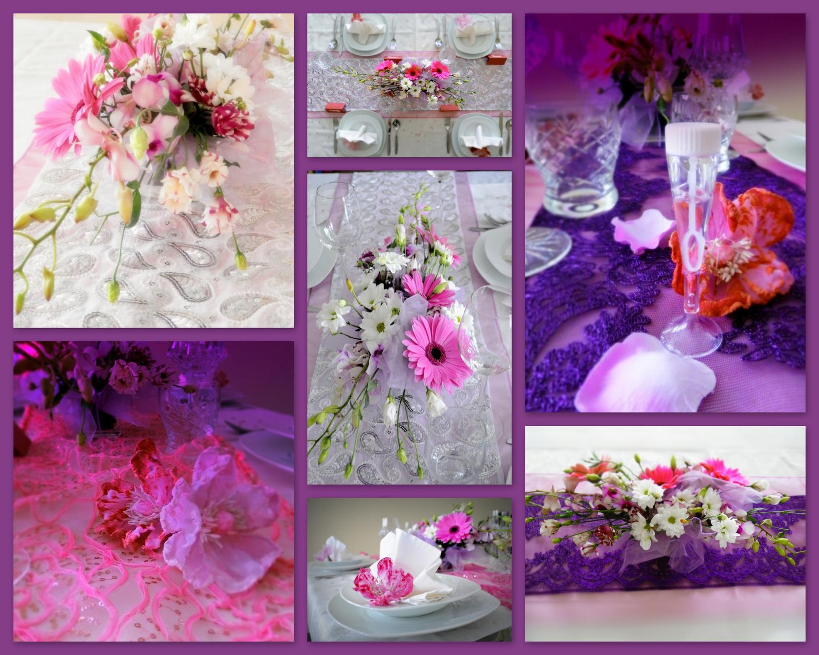 maxeshop - Nová kolekce látek na Váš svatební stůl - barva fialová, starorůžová, stříbrná