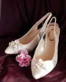 Svatební střevíčky na nízkém podpatku - doprodej, 36