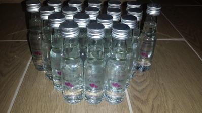 Mini fľaštičky naplnené hruškovicou - ako darček pre hostí na stôl... ;)