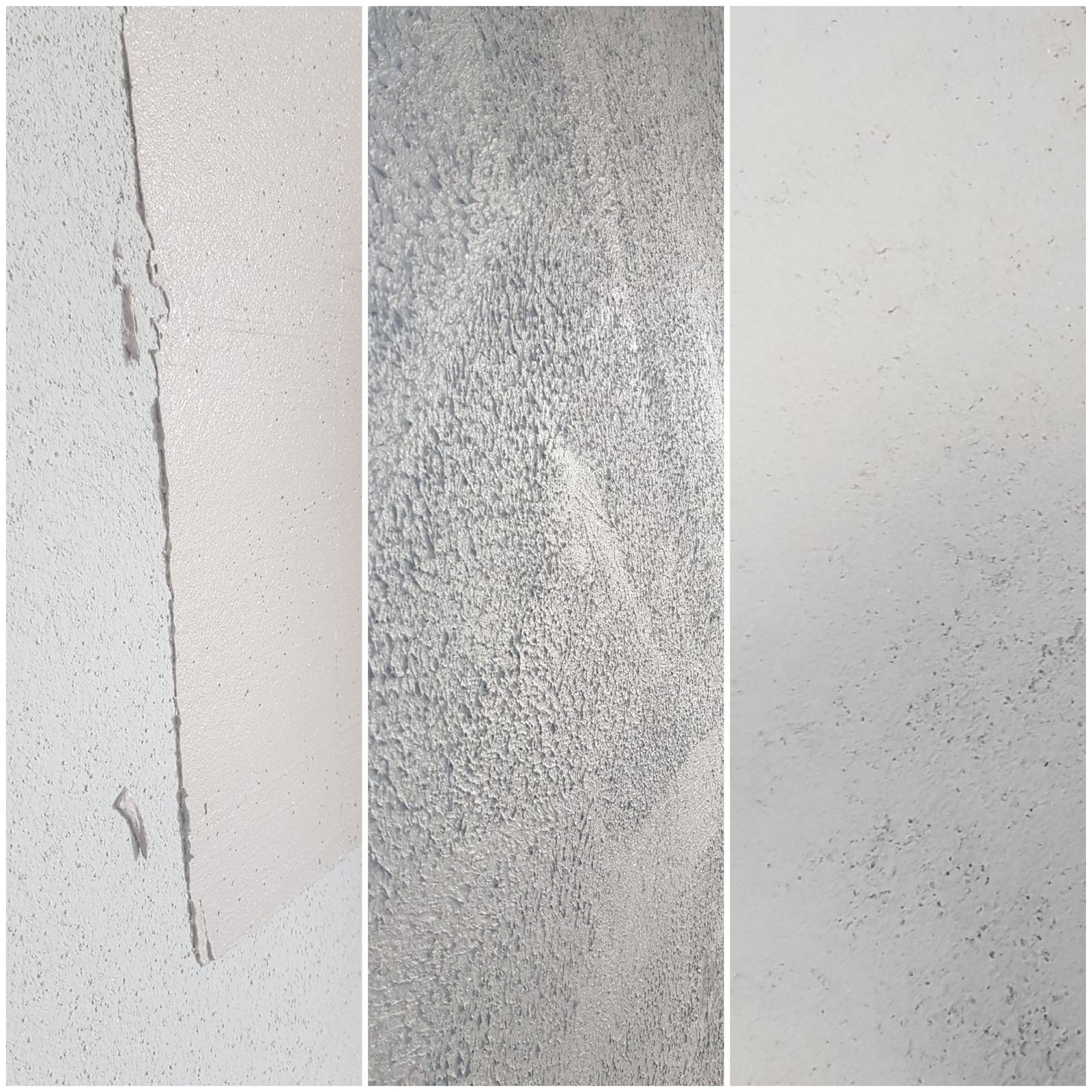 """Ten Náš ♧ projekt """"TOP""""♧ - Betonova omietka za telkou...najprv isiel na stenu penetrak prifarbeny kvapkou ciernej, potom cameleo betonova zmiesana zmes s vodou,natiahnuta ako kleber na stenu,potom sa porusila tato vrstva valcekom a opat sa vyhladila, uplne vpravo vyslednyefekt"""