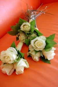 Květiny - bílé růže - družičkovské