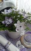 Bílé a fialové papírové květiny,