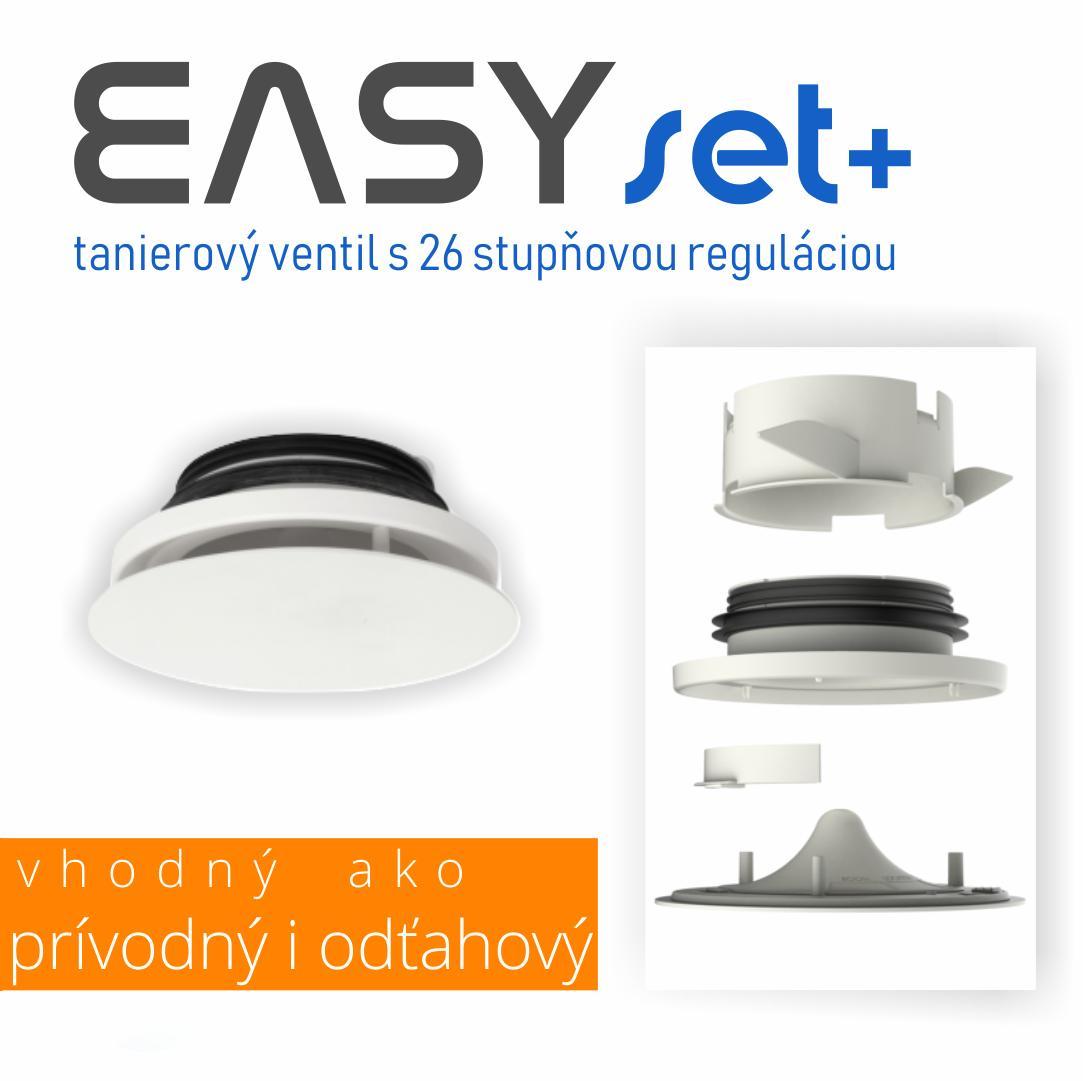 Novinky 2019 - NOVINKA! Kvalitný anemostat (tanierový ventil) EASYset+, ktorý umožňuje inštaláciu ako prívodný i odťahový anemostat a ponúka až 26 stupňov regulácie prietoku vzduchu. Samozrejmosťou je kvalitné kovové prevedenie v nadčasovom dizajne.