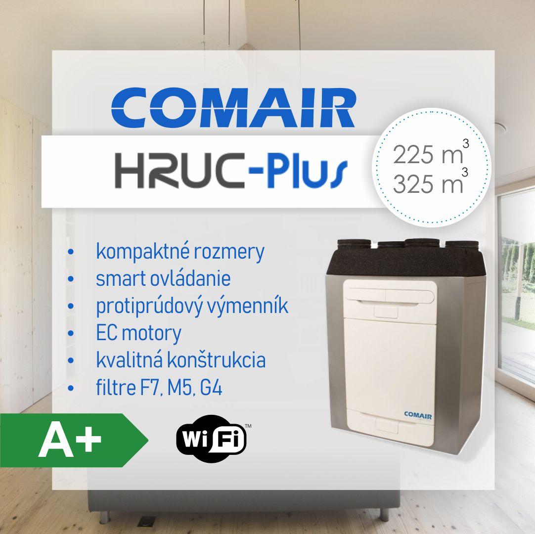Novinky 2019 - vetracia jednotka s rekuperáciou energie HRUC Plus umožňuje ešte jednoduchšie ovládanie cez smart zariadenia, disponuje ovládačom s dotykovou obrazovkou. Spája kompaktné rozmery, vysokú účinnosť rekuperácie,širší filtračný sortiment a priaznivú cenu.