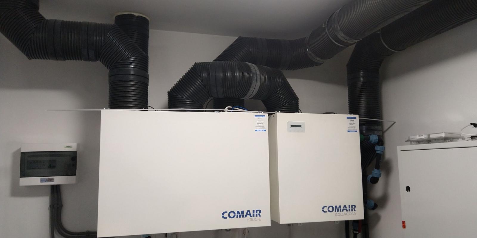Montáž vetracích rozvodov pre rekuperáciu - COMAIR HRUC-E, COMAIR AQUACOM+
