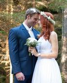 Vílí svatební šaty s vlečkou - pro vyšší nevěsty, 36