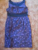 Fialovo černé pouzdrové šaty, 44