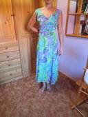 Zelenofialové dlouhé šaty, 44
