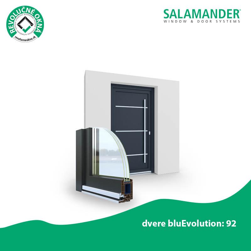 SALAMANDER ponuka okien a dverí - Najobľúbenejší. So stavebnou hĺbkou 92 mm, šiestimi profilovými komorami a tromi tesniacimi úrovňami vám vchodové plastové dvere bluEvolution 92 zaručia bezpečnosť a energetickú účinnosť.